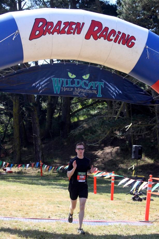 Mike Sohaskey finishing Brazen Racing Wildcat Half Marathon