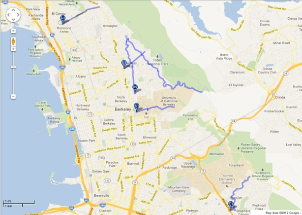 Map of road hills for running training in East Bay