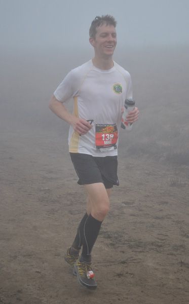 Mike Sohaskey running Rocky Ridge Half Marathon in fog