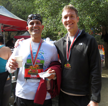 Isak Saad and Mike Sohaskey after finishing Rocky Ridge Half Marathon