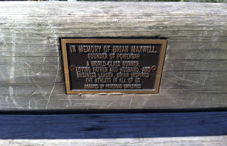 Bench dedicated to PowerBar founder Brian Maxwell, located along the Seaview Trail