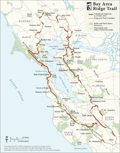 Bay Area Ridge Trail map