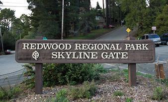 Redwood Regional Park Skyline Gate sign
