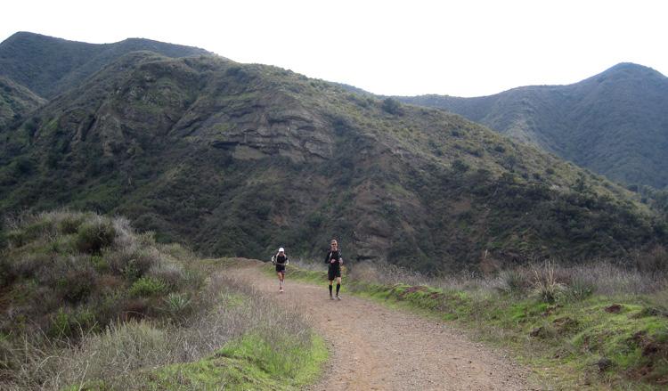 Mike Sohaskey and Laura running in Modjeska Canyon