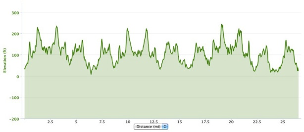 Antarctica Marathon 2013 course elevation profile