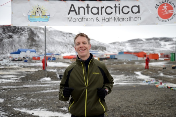 Mike Sohaskey finishing Antarctica Marathon 2013