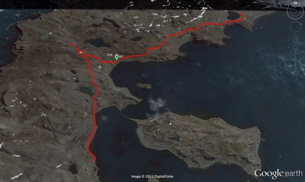 Google Earth rendering of the Antarctica Marathon 2013 course (credit: Mike Sohaskey)