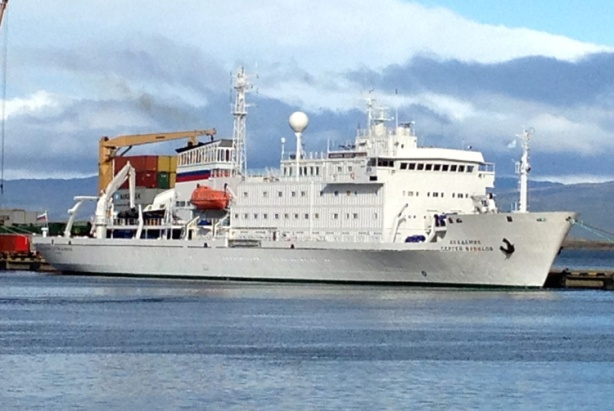 Akademik Sergey Vavilov in Ushuaia port (photo credit: Mike Sohaskey)