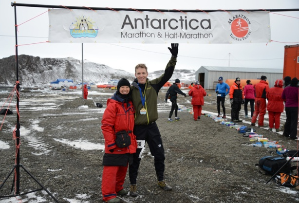 Mike Sohaskey and Katie Ho at finish line of Antarctica Marathon 2013