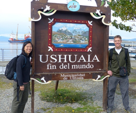 Katie and Mike Sohaskey in Ushuaia, Argentina