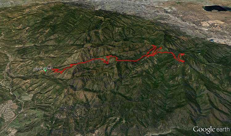 Harding Hustle 50k course - Google Earth rendering