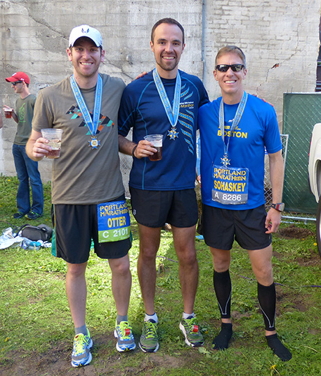 Otter, Dan Solera and Mike Sohaskey... celebrating completion of Portland Marathon 2013