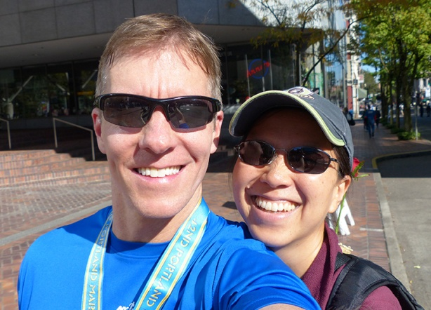 Mike Sohaskey and Katie Ho after Portland Marathon 2013