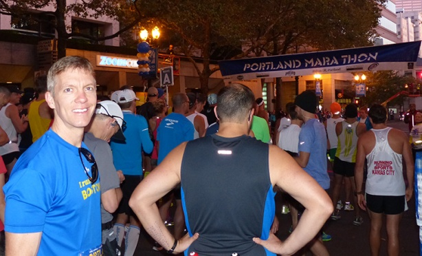 Mike Sohaskey at start line of Portland Marathon 2013