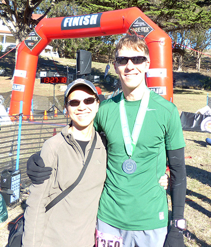 Mike Sohaskey and Katie Ho after 2013 The North Face Endurance Challenge Championship marathon
