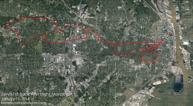 2014 First Light Marathon course map