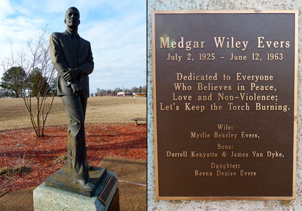 Medgar Wiley Evers library statue in Jackson, MS