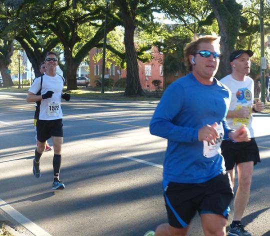 Mike Sohaskey at mile 5 of 2014 First Light Marathon