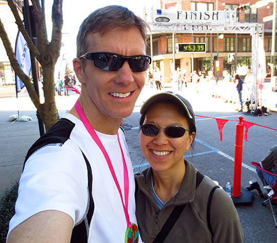 Mike Sohaskey & Katie Ho selfie at 2014 First Light Marathon finish line