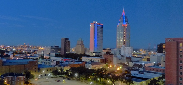 Downtown Mobile skyline at dusk - 2014 First Light Marathon