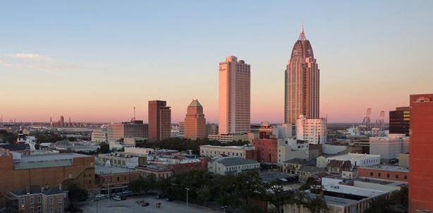 Downtown Mobile skyline at sunset - 2014 First Light Marathon