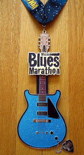 Mississippi Blues Marathon medal 2013