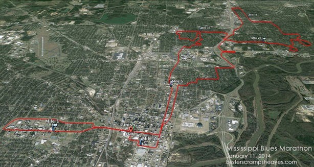 Google Earth rendering of Mississippi Blues Marathon course 2013