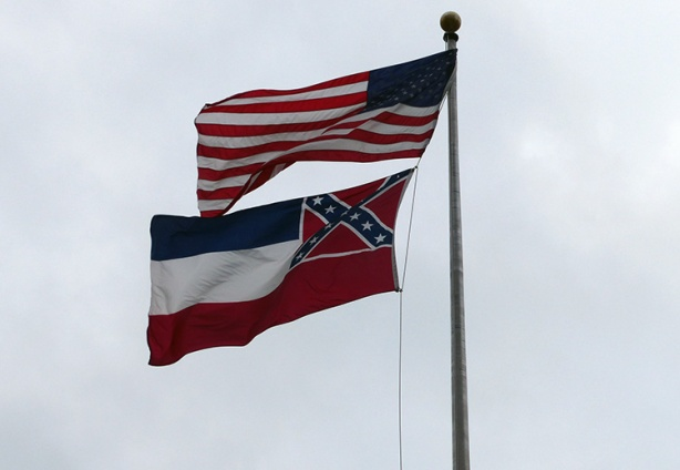 US and Mississippi state flags in Jackson