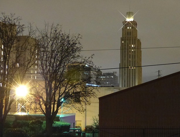 Standard Life building at night in Jackson, MS