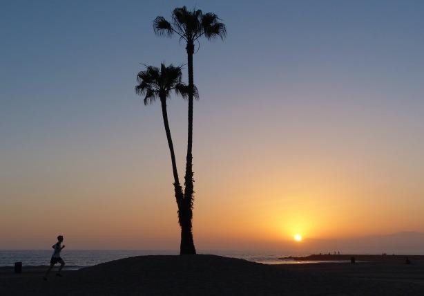 Mike Sohaskey running at sunset along beach