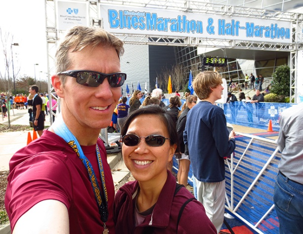Mike Sohaskey & Katie Ho selfie at finish line of Mississippi Blues Marathon 2013
