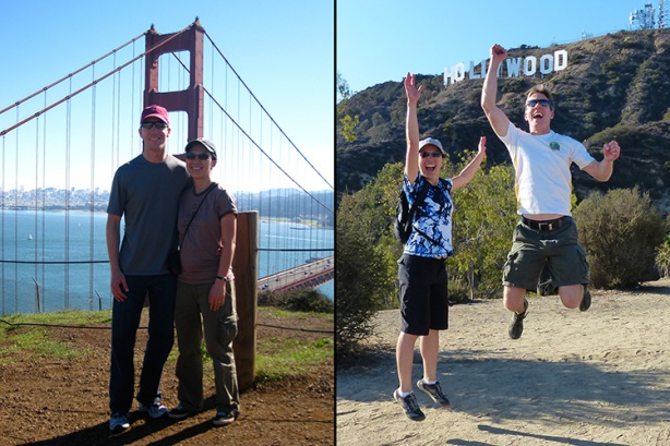 Mike Sohaskey & Katie in front of Golden Gate Bridge & Hollywood sign