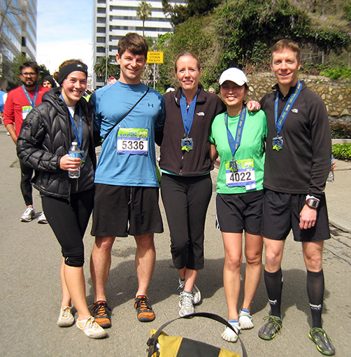 Mike Sohaskey with running buds at 2012 Oakland Half Marathon