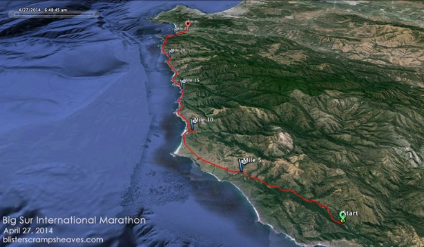 Big Sur International Marathon course on Google Earth