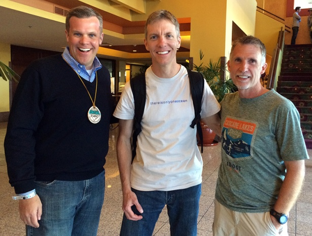 Drew, Mike Sohaskey and Donn after Big Sur International Marathon