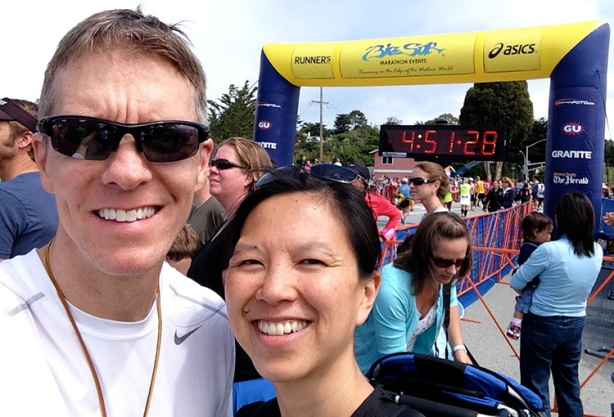 Mike Sohaskey & Katie at the finish of Big Sur International Marathon
