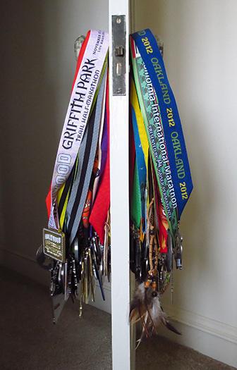 Medals on doorknob