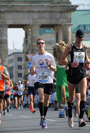 Mike Sohaskey - finishing Berlin Marathon through the Brandenburg Gate