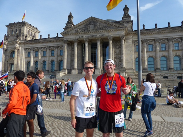 Mike Sohaskey and Daniel Otto at Reichstag post-Berlin Marathon