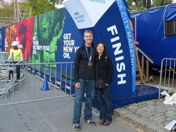 Mike Sohaskey & Katie Ho at the New York City Marathon finish line