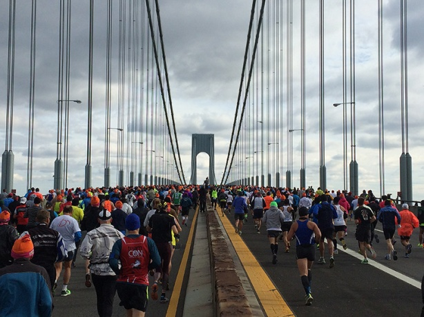 Verrazano-Narrows Bridge at New York City Marathon start