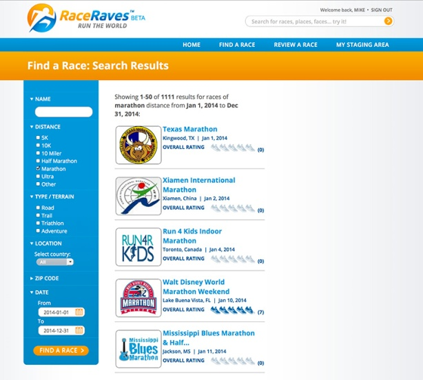 RaceRaves - Find a Race search results page for 2014 marathons