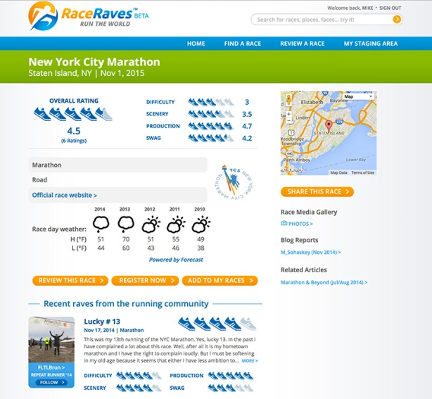 RaceRaves - New York City Marathon race details page