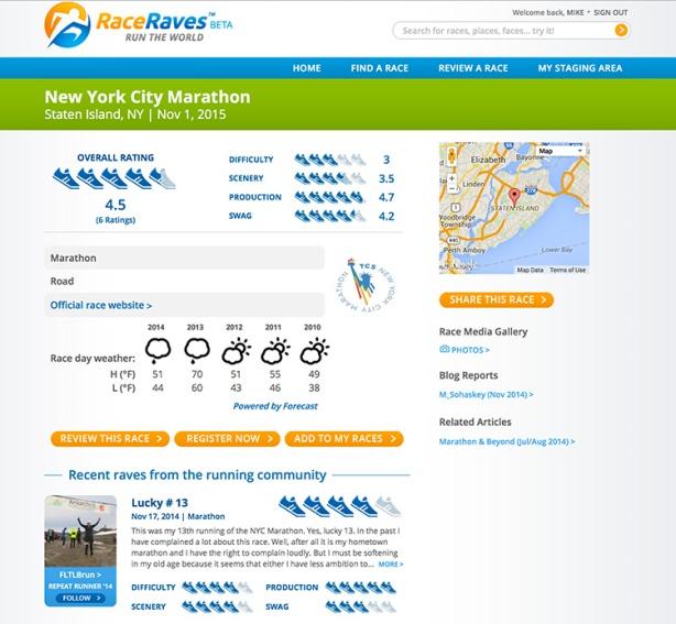 RaceRaves - New York City Marathon race details page