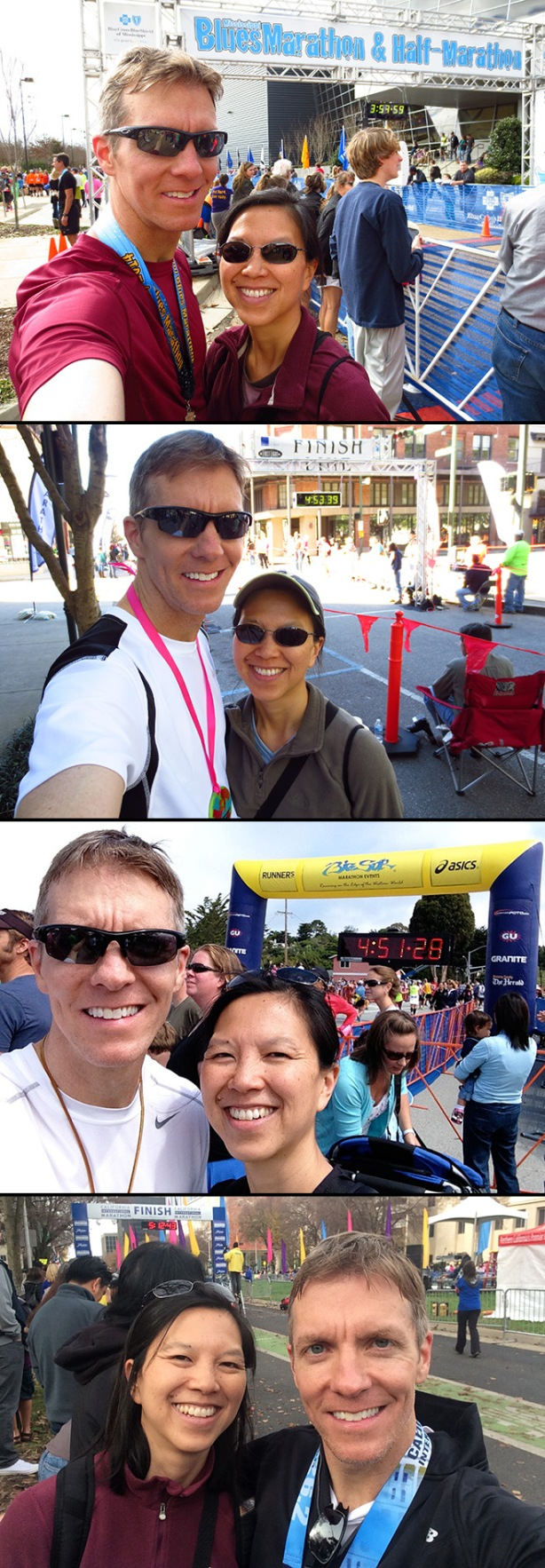 Mississippi Blues Marathon, First Light Marathon, Big Sur Marathon, California International Marathon finish line selfies