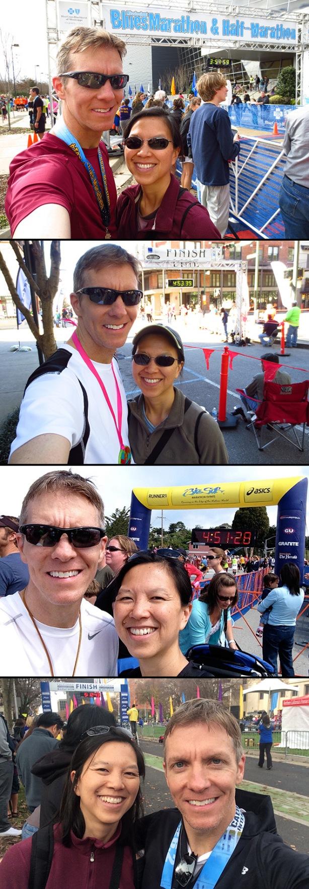 Mississippi Blues Marathon, First Light Marathon, Big Sur Marathon, California International Marathon finish line selfies