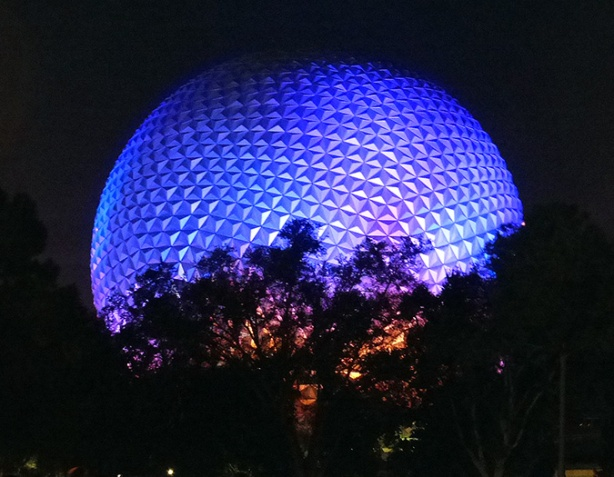 Epcot's Spaceship Earth aglow with WDW race-day anticipation