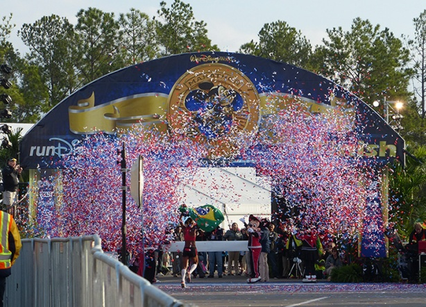 Finish line confetti for Walt Disney World Marathon women's winner