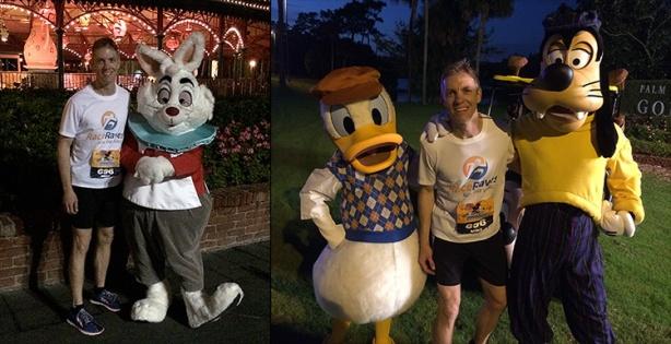Mike Sohaskey with White Rabbit, Donald Duck & Goofy