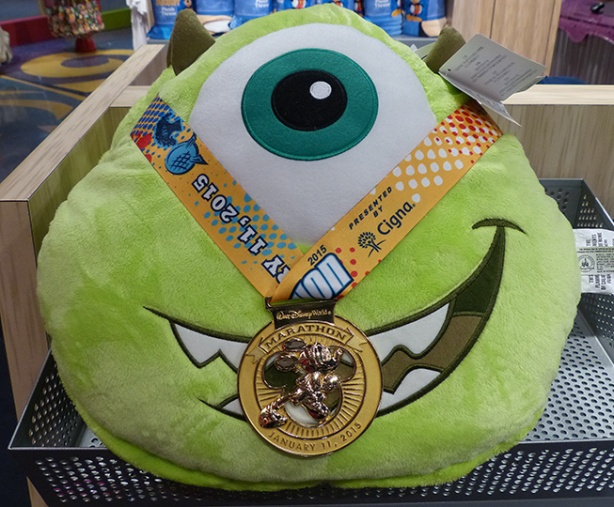 Mike Wazowski wearing Walt Disney World Marathon medal